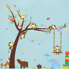 Jungle Cartoon Monkey Tree Animals Theme Wall Sticker For Kids Room Art Decal