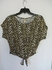 Xhilaration Top Shirt Short Sleeve Tie Front Leopard Print Size M  #7579