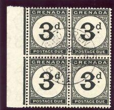 Grenada 1945 KGVI Postage Due 3d black block of four VFU. SG D14 var.