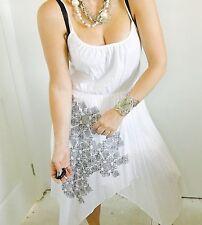 WHITE SUEDE DESIGNER STUNNING DRESS SZ M