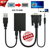 VGA Male To HDMI Output 1080P HD+ Audio TV AV HDTV Video Cable Converter Adapte