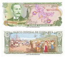 COSTA RICA 5 i cloni 1989 P-236d BANCONOTE UNC