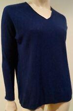 VINCE Women's Navy Blue 100% Cotton V Neck Long Sleeve Sweater Jumper Top XS