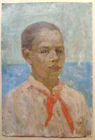 Russian Ukrainian Soviet oil painting realism portrait boy pioneer child sea