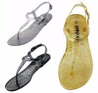 20c6886eb1a4 NEW Women Girl Cute Glitter T-Strap Thong Jelly Flat Slingback Flat Sandal  Size