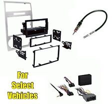 Silver Stereo Radio Install Dash Trim Bezel Kit Combo w/ w/o Amp select Cars