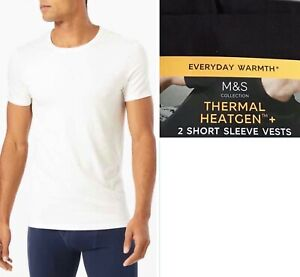 M&S Mens 2 Pack STAY FRESH Thermal HEATGEN Ultra Light Soft Short Sleeve VEST