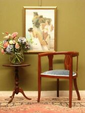 ANTIQUE MAHOGANY + VELVET TUB CHAIR / SIDE OR BEDROOM CHAIR ~ FINE INLAY c1900s