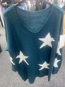 Brand New Ladies Womens Italian V-Neck Knit Star Jumper Autumn/ Winter
