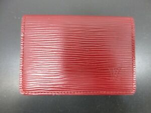 Auth Louis Vuitton Epi Enveloppe Carte de Visite M5658E Dark Red Great 92746