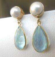 Blautopaz Quartz Ohrringe, Keshi Zuchtperle, 925 Silber vergoldet