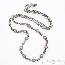 Antique Vintage Deco Sterling Silver Repousse Bead Paper Clip Link Necklace