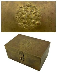 Antique 19thC Russian Imperial Double Eagle Tin Brass Snuff Box Tea Caddy Casket