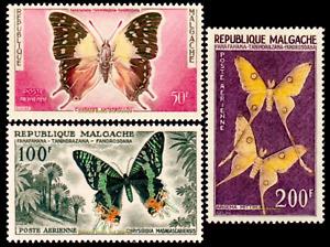 EBS Madagascar 1960 - Butterflies - Air Mail - YT MG PA 80-82 MNH**
