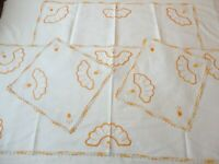 4 Vintage Doilies Dresser Scarf Linen Hand Crochet & Embroidered Cream & Orange