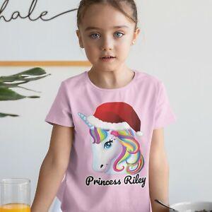 Personalised Kids little girls t shirt printed name cute unicorn kitty mermaid
