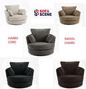 Jumbo Cord Sofa Swivel Cuddle Armchair Black Grey Brown Cream Suite Option Chair