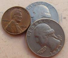 1 Cent e 1/4 di Dollaro Stati Uniti d'America - Lotto 3 monete - n. 1143