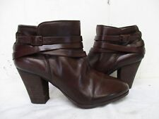 Arturo Chiang Chelsea Dark Brown Leather Zip Ankle Boots Womens Size 8 M