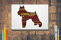 Schnauzer Word Art Canvas A4A3A2A1 Birthday Mothers Day Gift Personalised Option