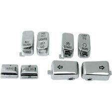 Drag 0616-0129 Chrome 8 Piece Handlebar Control Switch Key Cap Set Harley