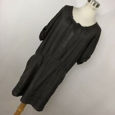 Rebecca Taylor 8 Gray Silk Dress Lined Pockets Hidden Snap Front Womens S/S R1