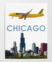 """Spirit Airlines A320 over Dallas Art - 18"""" x 24"""" Poster"""