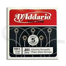 D'Addario Strings 5x Plain Steel Guitar Strings .011 for Electric & Acoustic