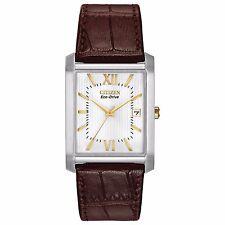 Citizen Eco-Drive Men's BM6789-02A Rectangle Case Brown Leather Strap 35mm Watch