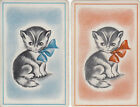 Vintage Swap / Playing Card - 2 SINGLE - CUTE LITTLE CAT WITH BOW