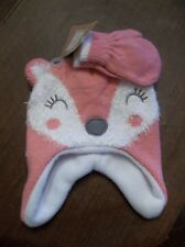 Infant Girl Pink/White Fox Design w/ Fleece inside Lining Hat / Mittens Set NEW!