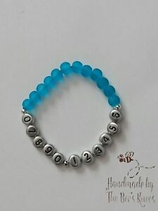 Personalised Phone Number Bracelet BLUE For Children Or Bears Child Safety Lost