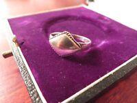 Schöner 925 Silber Ring Raute Viereck Geriffelter Rand Sterling Schlicht Unisex