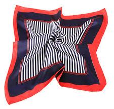 Blue red stripe Neckerchief Shawl Head Bandanas Square Scarf Satin