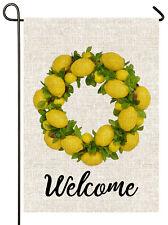 Mogarden Lemon Garden Flag, 12.5 x 18 Inch, Lemon Wreath Welcome Yard Flag