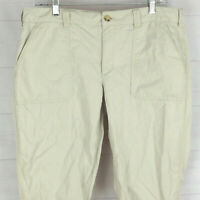 Ralph Lauren womens size 10 solid beige 100% cotton flat front tapered pants