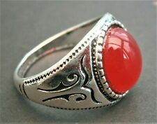 Celtic style red acrylic inlay ring At264*) Ethic Tribal silver tone metal