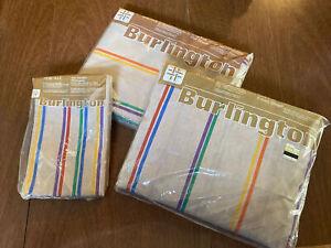 Burlington Percale Full Flat Sheet set Vintage NOS Retro Stripes mid century 70s