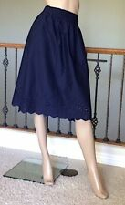 70cd6541f UNIQLO WOMEN NAVY HIGH-WAIST COTTON LAWN EYELET SKIRT SIZE XS NWT