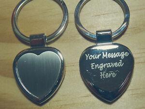Personalised Silver Heart Keyring Engraved Christmas Birthday Gift Wedding Gift