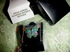 Avon 2013 Goldtone Spring Garden Reversible Butterfly Necklace...signed