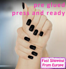 24Pcs Pre Glued False Nail Black Fake Cheap Manicure Black Fast Europe