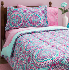 Twin Comforter Set Bedding for Teens Girls Kids Pink Mint Green Dorm Sheets 8PC