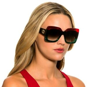 NEW Gucci GG0083S 001 Sunglasses Urban Square Red Green Black Made In Italy