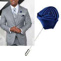 Lapel Flower Blue Boutonniere Stick Brooch Pin Men's Shirt Suit Tie Womens
