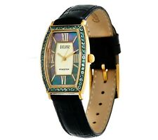 ECCLISSI FACETS STAINLESS STEEL 0.75CT ALEXANDRITE LEATHER WATCH QVC