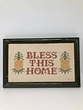 Framed Bless This Home Pineapples Finished Cross Stitch Wall Hanging Art 8.5x5.5
