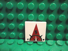 Lego 1 White 2x2 tile printed with Compass South in dark red pointer NEW
