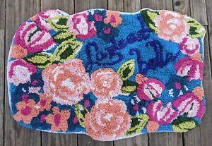Anthropologie Bath Mat Hand Tufted Cotton La Vie Est Belle Floral NWOT
