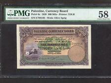 Palestine Currency Board:P-6c,500 Mils,1939 * RARE * Israel * PMG AU 58 *